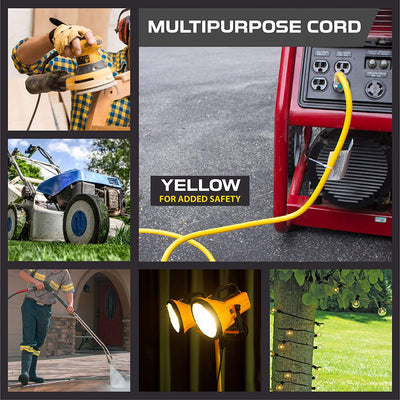 200 Foot Lighted Outdoor Extension Cord - 12/3 SJTW Heavy Duty Yellow Extension Cable with 3 Prong Grounded Plug for Safety - Great for Garden and Major Appliances