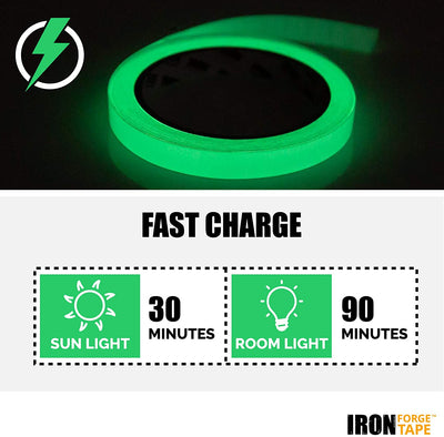 Glow Tape - 1 Inch x 30ft Vinyl Adhesive Glow-in-The-Dark Tape Roll - Lasts Up to 12 Hours