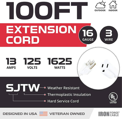 100 Foot Outdoor Extension Cord - 16/3 White Extension Cable with 3 Prong Grounded Plug for Safety