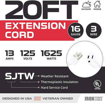 20 Ft White Extension Cord 2 Pack - 16/3 Durable Electrical Cable