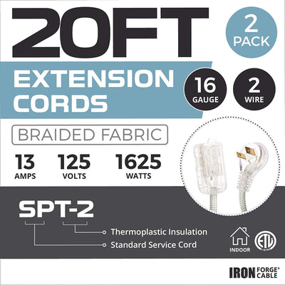 20Ft Fabric Extension Cord 2 Pack - 16/2 SPT-2 Gray Chevron Braided Cloth Electrical Power Cable Set