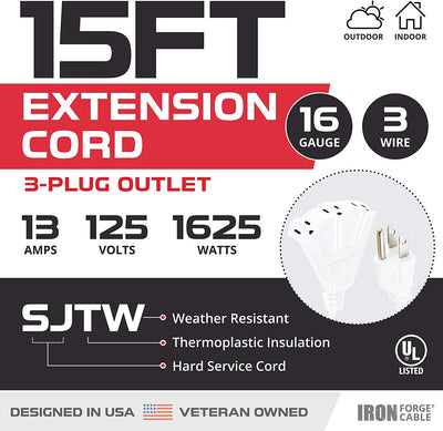 15 Ft Outdoor Extension Cord with 3 Electrical Power Outlets - 16/3 SJTW Durable White Cable