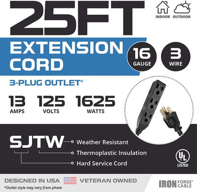 25 Ft Black Extension Cord with 3 Electrical Power Outlets - 16/3 SJTW Durable Cable with 3 Prong Grounded Plug for Safety