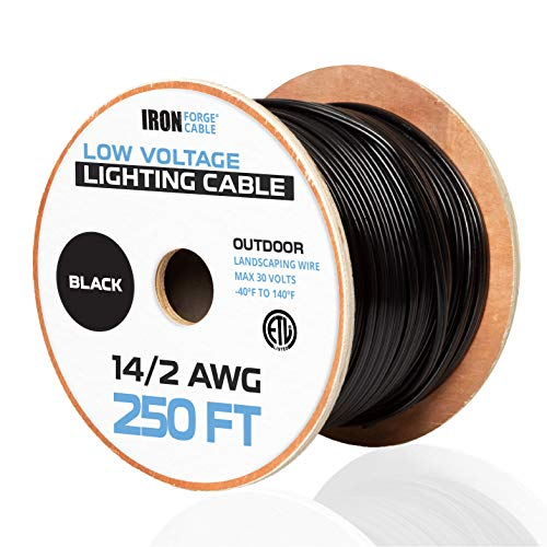 14/2 Low Voltage Landscape Wire - 250ft Outdoor Low-Voltage Cable for Landscape Lighting, Black