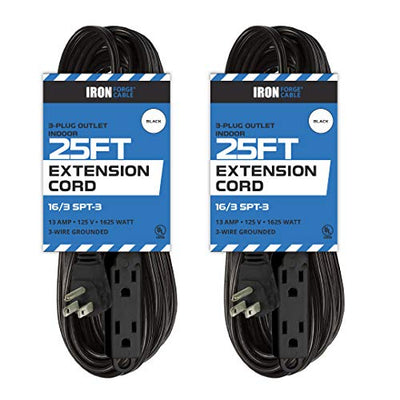 2 Pack of 25 Ft Extension Cords with 3 Electrical Power Outlets - 16/3 Durable Black Extension Cord Pack