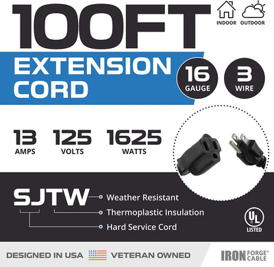 100 Ft Black Extension Cord - 16/3 Durable Electrical Cable