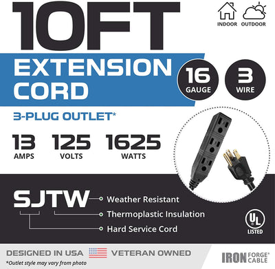 10 Ft Black Extension Cord with 3 Electrical Power Outlets - 16/3 SJTW Durable Cable with 3 Prong Grounded Plug for Safety