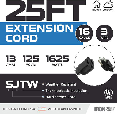 2 Pack of 25 Ft Outdoor Extension Cords - 16/3 Durable Black 3 Prong Extension Cord Pack