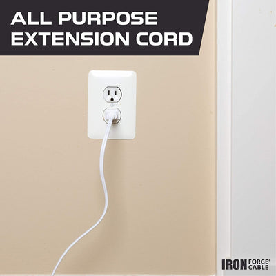 White Extension Cord 3 Pack, 10ft 15ft & 20ft - 16/2 Durable Electrical Cable