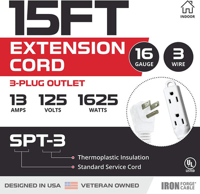 15 Ft Extension Cord with 3 Electrical Power Outlet - 16/3 Durable White Cable