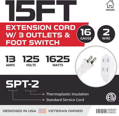 15 Ft Extension Cord with Foot Switch and 3 Electrical Power Outlet - 16/2 Durable White Foot Tap Extension Cord