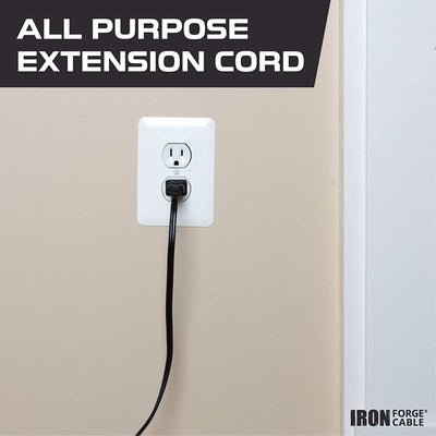 Black Extension Cord 3 Pack, 10ft 15ft & 20ft - 16/2 Durable Electrical Cable