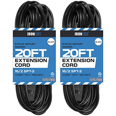 20 Ft Black Extension Cord 2 Pack - 16/2 Durable Electrical Cable