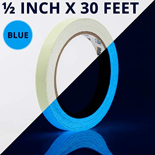 Glow Tape - .5 Inch x 30ft Vinyl Adhesive Blue Glow-in-The-Dark Tape Roll - Lasts Up to 12 Hours