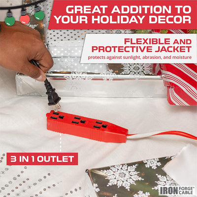 10 Ft Candy Cane Outdoor Extension Cord with 3 Electrical Power Outlets - 16/3 SJTW Durable Red & White Striped Cable