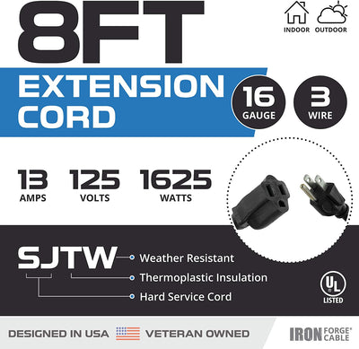 2 Pack of 8 Ft Outdoor Extension Cords - 16/3 Durable Black Extension Cord Pack