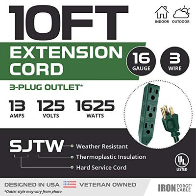 10 Ft Extension Cord 2 Pack - 16/3 SJTW Durable Green Cable with 3 Electrical Power Outlets