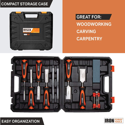 Woodworking Chisel Set, 10 Piece - Wood Hand Tools with Storage Case for Carving and Carpentry - 6 Chisels, 2 Carpenter Pencils, 1 Honing Guide & 1 Sharpening Stone