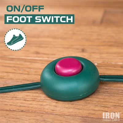 15 Ft Extension Cord with Foot Switch and 3 Electrical Power Outlet - 16/2 Durable Green Foot Tap Extension Cord