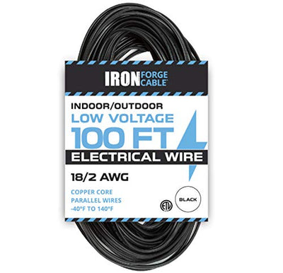 18/2 Low Voltage Landscape Wire - 100ft Indoor/Outdoor Low-Voltage Copper Cable, Black