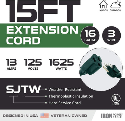 15 Foot Outdoor Extension Cord - 16/3 SJTW Durable Green Extension Cable with 3 Prong Grounded Plug for Safety - Great for Garden and Major Appliances