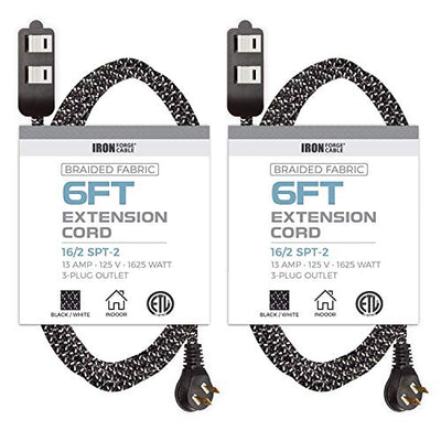 6Ft Fabric Extension Cord 2 Pack - 16/2 SPT-2 Black and White Braided Cloth Electrical Power Cable Set