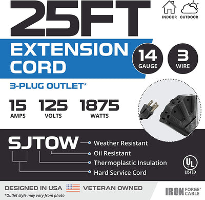 25 Ft Black Oil Resistant Extension Cord with 3 Electrical Power Outlets for Farms and Ranches - 14/3 SJTOW Heavy Duty Cable with 3 Prong Grounded Plug for Safety