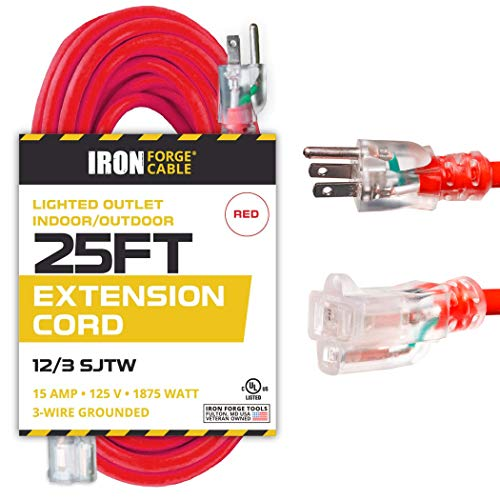 25 Ft Lighted Extension Cord - 12/3 SJTW Heavy Duty Red Outdoor Extension Cable with 3 Prong Grounded Plug for Safety - Great for Garden & Major Appliances