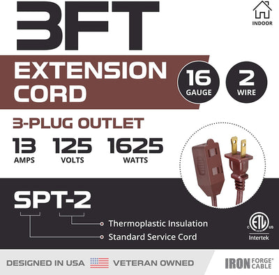 3 Ft Brown Extension Cord 2 Pack - 16/2 Durable Electrical Cable
