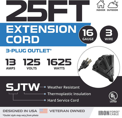 25 Ft Outdoor Extension Cord with 3 Electrical Power Outlets - 16/3 SJTW Durable Black Cable