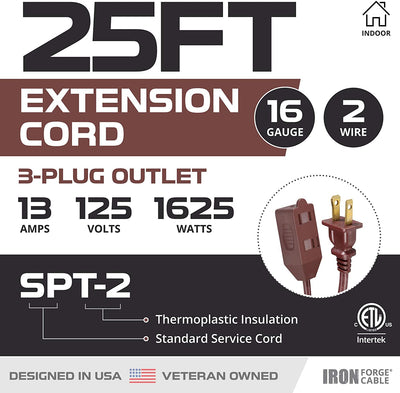 25 Ft Brown Extension Cord 2 Pack - 16/2 Durable Electrical Cable