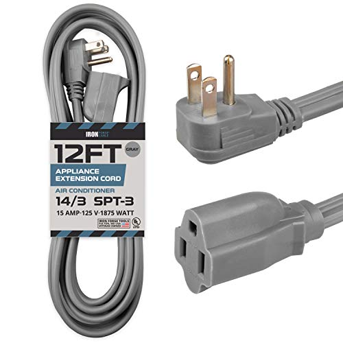 12 Ft Appliance Extension Cord Heavy Duty, Gray - 14 Gauge 3 Prong SPT-3 Cable for Air Conditioner or Refrigerator
