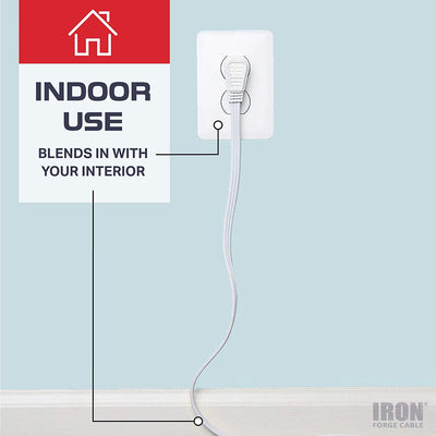 3 Ft Extension Cord with 3 Electrical Power Outlets - 16/3 Durable White Cable