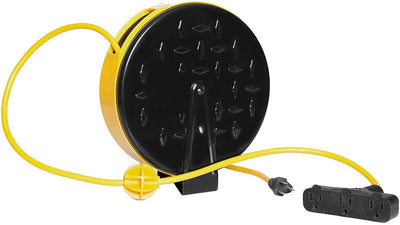 Retractable Extension Cord Reel with 3 Electrical Power Outlets - Perfect for Hanging from Your Garage Ceiling (16/3 Gauge, 30ft Length - Yellow & Black)