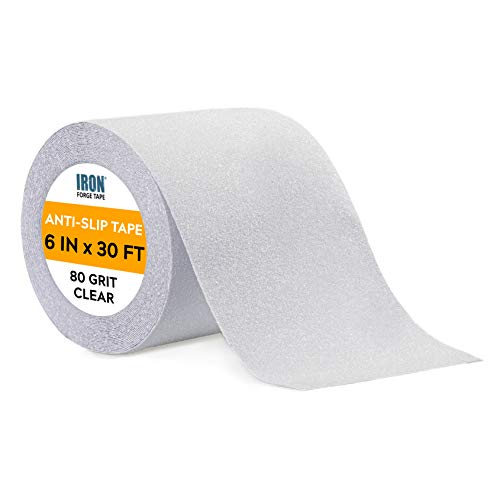 Clear Anti Slip Tape - 6 inch x 30 Foot, 80 Grit Non Slip Grip Tape