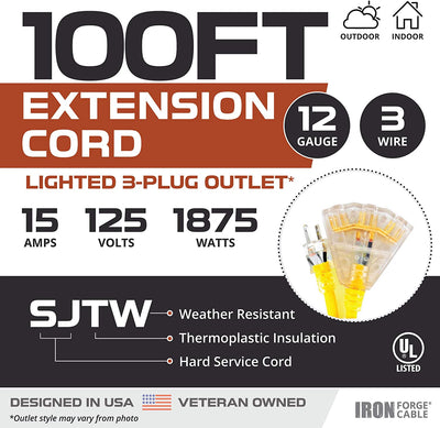 Lighted Outdoor Extension Cord with 3 Electrical Power Outlets - 10/3 SJTW Heavy Duty Yellow Cable with 3 Prong Grounded Plug for Safety (100ft - Yellow with Powerblock)