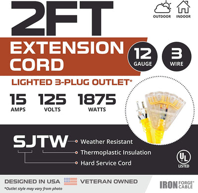 2 Pack of 2 Foot Lighted Outdoor Extension Cord with 3 Electrical Power Outlets - 12/3 SJTW Heavy Duty Yellow Extension Cable with 3 Prong Grounded Plug for Safety