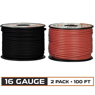 16 Gauge Primary Wire - 2 Roll Red & Black Pack - 100 Ft of Copper Clad Aluminum Wire per Roll