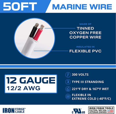 50 Ft Marine Wire, 12 Gauge Duplex - Tinned Copper Boat Cable, Oxygen Free, 600 Volts