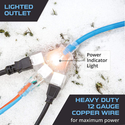 100 Ft All Weather Extension Cord with 3 Electrical Power Outlets - Stays Flexible in Extreme Cold & Hot Temperatures from -58°F to +221°F - 12/3 SJEOW Heavy Duty Lighted Outdoor Cable