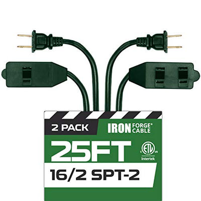 25 Ft Green Extension Cord 2 Pack - 16/2 Durable Electrical Cable with 3 Power Outlets