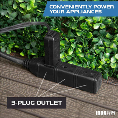 50 Ft Black Extension Cord with 3 Electrical Power Outlets - 16/3 SJTW Durable Cable with 3 Prong Grounded Plug for Safety