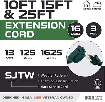 Green Extension Cord 3 Pack, 10ft 15ft & 25ft - 16/3 SJTW Durable Electrical Cable with 3 Prong Grounded Plug for Safety