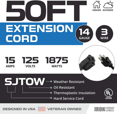 50 Ft Black Oil Resistant Extension Cord for Farms and Ranches - 14/3 SJTOW Heavy Duty Outdoor Electrical Cable with 3 Prong Grounded Plug for Safety