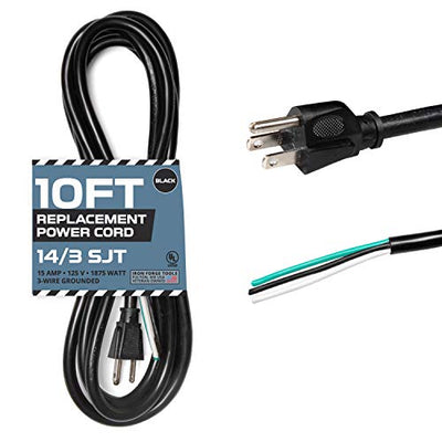 14 AWG Replacement Power Cord with Open End - 10 Ft Black Extension Cable, 14/3 SJT, NEMA 5-15P