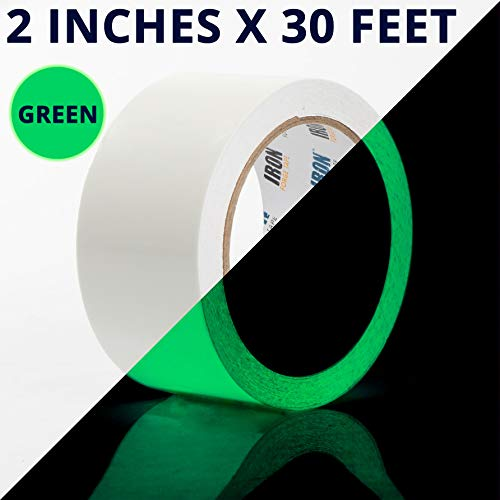 Glow Tape - 2 Inch x 30ft Vinyl Adhesive Green Glow-in-The-Dark Tape Roll - Lasts Up to 12 Hours