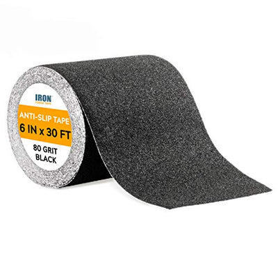 Black Anti Slip Tape - 6 inch x 30 Foot, 80 Grit Non Slip Grip Tape