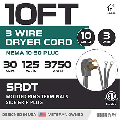 3 Prong Dryer Cord - 10 Ft Extension Power Cord, 10/3 SRDT, 30 Amp, NEMA 10-30 Plug, Gray