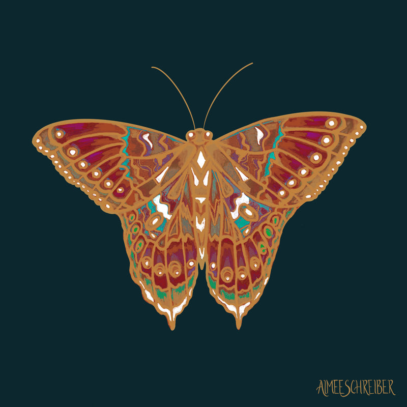 Gold Butterfly Illustration by Aimee Schreiber