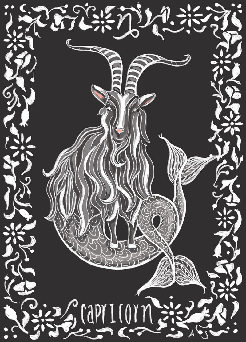 capricorn sea goat zodiac illustration by Aimee Schreiber